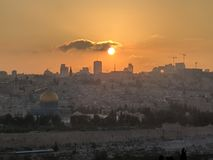 Puesta del sol Jerusalén del monte de los Olivos Imagen de archivo libre de regalías