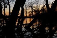 Puesta del sol del lago seco Foto de archivo libre de regalías