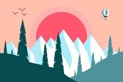 Puesta del sol Las montañas Fotos de archivo libres de regalías