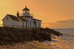 Puesta del sol lighthous de Westpoint Fotos de archivo
