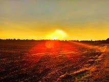 Puesta del sol llamativa del campo Fotos de archivo libres de regalías