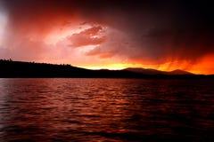 Puesta del sol lluviosa Imagenes de archivo