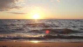 Puesta del sol a lo largo de la orilla del lago durante tiempo de verano almacen de video