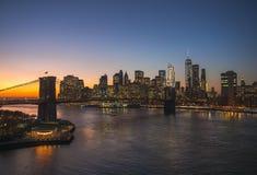 Puesta del sol del Lower Manhattan Imagen de archivo