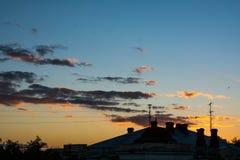 Puesta del sol mágica Foto de archivo libre de regalías