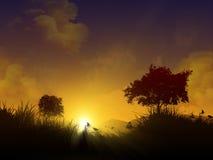 Puesta del sol mágica con las siluetas stock de ilustración