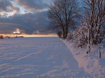 Puesta del sol mágica del invierno en un campo de nieve fotografía de archivo