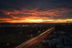 Puesta del sol magnífica del otoño Fotos de archivo libres de regalías