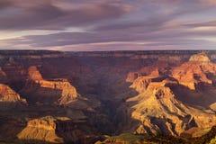 Puesta del sol majestuosa Rim Grand Canyon National Park del sur Arizona Imagen de archivo