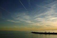 Puesta del sol, mar Mediterráneo, Marbella, España Fotos de archivo libres de regalías