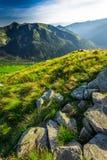 Puesta del sol maravillosa en las montañas de Tatra en verano Fotos de archivo