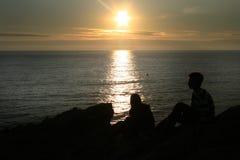 Puesta del sol marina Foto de archivo libre de regalías