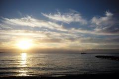 Puesta del sol marina hermosa Foto de archivo libre de regalías