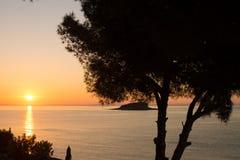 Puesta del sol mediterránea Imágenes de archivo libres de regalías