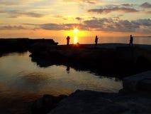 Puesta del sol mediterránea Fotos de archivo