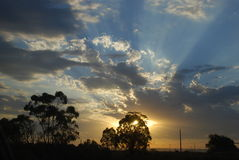 Puesta del sol meridional Fotos de archivo libres de regalías