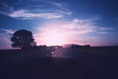 Puesta del sol mientras que conduce en el San Luis la Argentina Fotografía de archivo libre de regalías