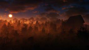 Puesta del sol misteriosa del paisaje Fotografía de archivo