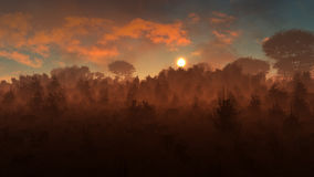 Puesta del sol misteriosa del paisaje ilustración del vector