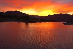puesta del sol Namibia Imagen de archivo libre de regalías