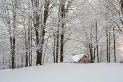 Puesta del sol Nevado Nueva Inglaterra fotografía de archivo