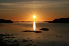 Puesta del sol noruega Imágenes de archivo libres de regalías