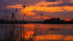 Puesta del sol nublada con colores anaranjados y amarillos que se refleja en simetría en el agua de un lago en el campo imágenes de archivo libres de regalías