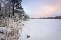 Puesta del sol nublada del invierno sobre el lago congelado Imagenes de archivo