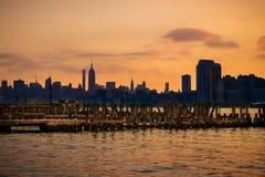 Puesta del sol Nueva York Imagenes de archivo
