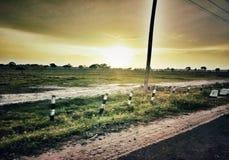 Puesta del sol o puesta del sol Foto de archivo libre de regalías