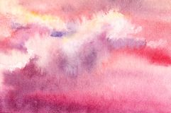 Puesta del sol o cielo de la salida del sol con las nubes de cúmulo Rosa, lila y viole ilustración del vector