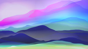 Puesta del sol o Dawn Over Silk Mountains Landscape - vector ilustración del vector