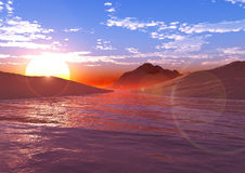 Puesta del sol o salida del sol sobre el mar Imágenes de archivo libres de regalías