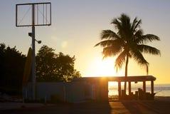 Puesta del sol del océano de la Florida en el muelle Foto de archivo libre de regalías