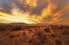 Puesta del sol occidental del humo Fotos de archivo libres de regalías