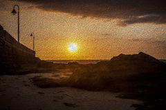 Puesta del sol oilpainting Fotografía de archivo libre de regalías