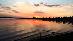 Puesta del sol Oranjeville Imagen de archivo libre de regalías