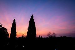 Puesta del sol oscura de Florencia foto de archivo libre de regalías