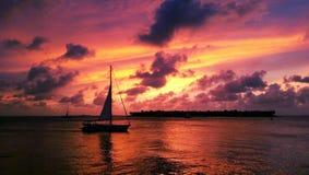 Puesta del sol púrpura del cielo Fotografía de archivo libre de regalías