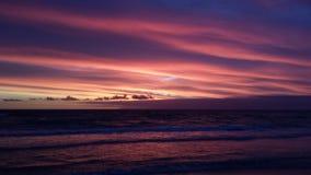 Puesta del sol púrpura y rosada Imagen de archivo libre de regalías