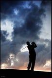 Puesta del sol País de Gales del golfista Foto de archivo libre de regalías