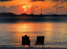 Puesta del sol pacífica Fotografía de archivo