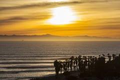 Puesta del sol pacífica de California en Ventura County escénico Foto de archivo