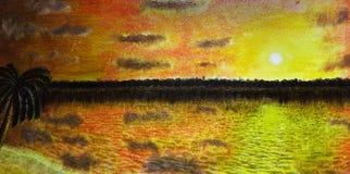 Puesta del sol del paisaje de la pintura al óleo Foto de archivo libre de regalías