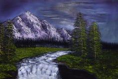 Puesta del sol del paisaje de la pintura al óleo Imagen de archivo