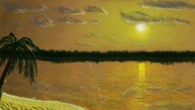 Puesta del sol del paisaje de la pintura de Digitaces Imagen de archivo