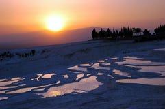 Puesta del sol Pamukkale Turquía Foto de archivo libre de regalías