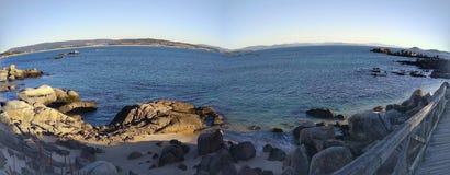 Puesta del sol panorámica en el RÃas Baixas Galicia España imagen de archivo libre de regalías