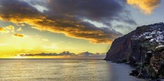 Puesta del sol panorámica en Madeira Fotografía de archivo libre de regalías