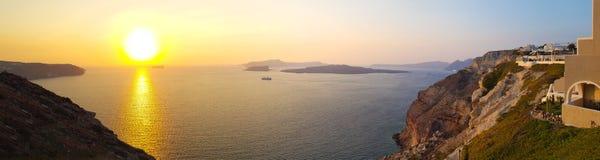 Puesta del sol panor?mica sobre el mar fotos de archivo libres de regalías